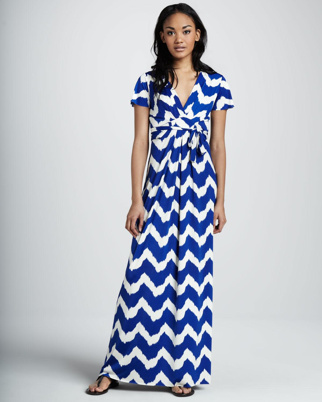 72c9354ed53 Lyst - T-bags Chevronprint Maxi Dress in Blue