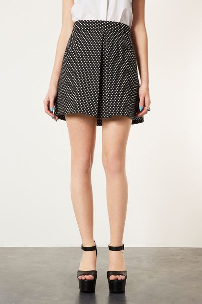 topshop spot pleat front a line skirt in black lyst