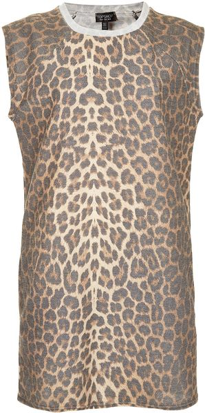 Topshop Leopard Print Sleeveless Sweat Dress - Lyst