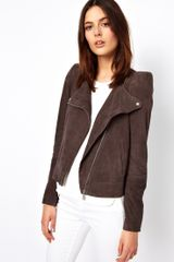 Vanessa Bruno Athé Athé Sharp Shouldered Biker Jacket in Suede