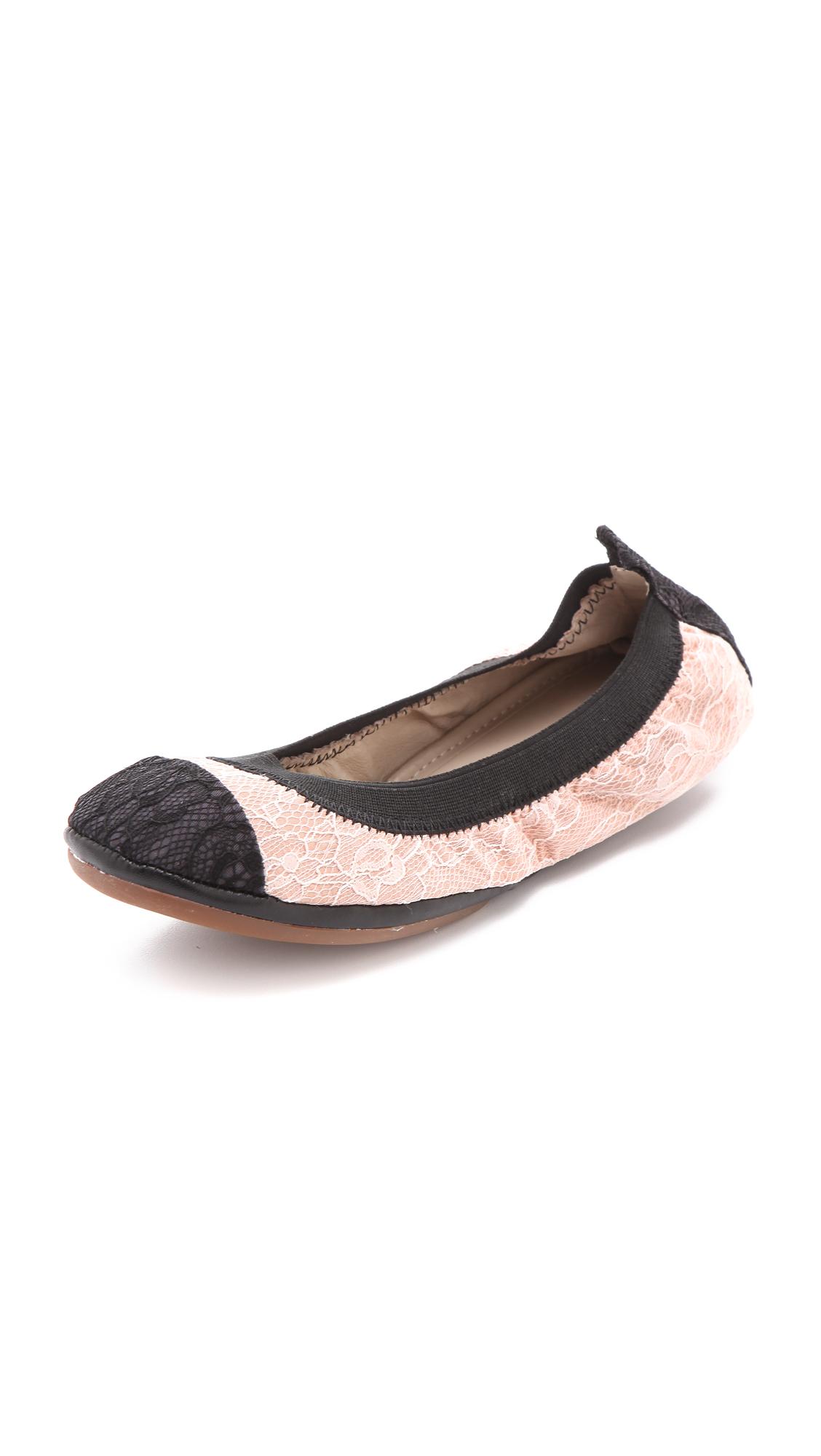 Yosi Samra Lace Cap Toe Ballet Flats In Pink Beige Lyst