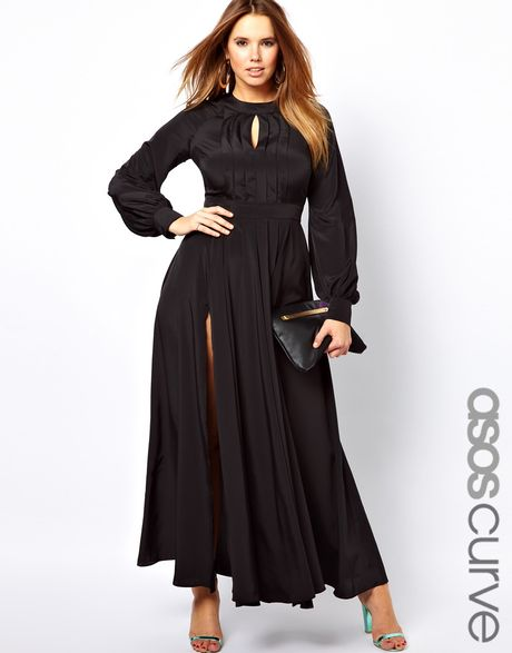 Asos Curve Maxi Dress With Bell Sleeve In Blue Black Lyst