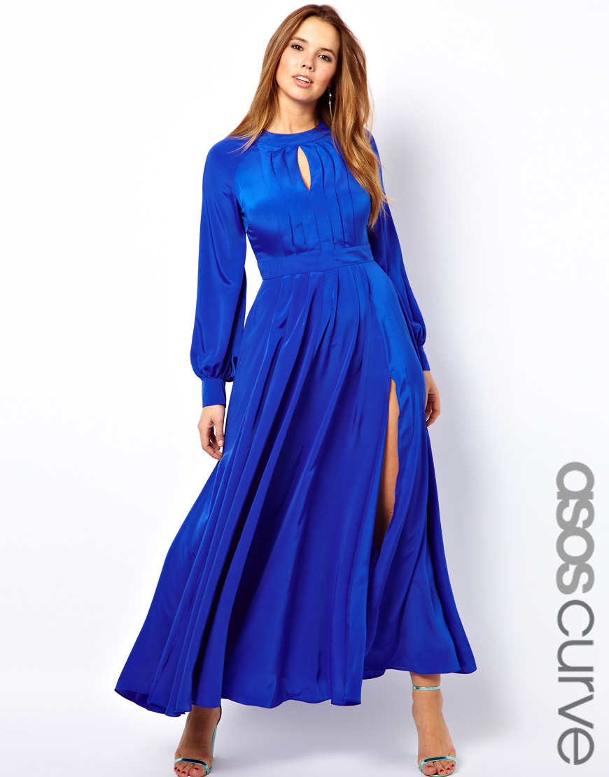 Lyst Asos Maxi Dress With Bell Sleeve In Blue