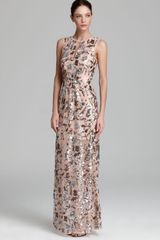 BCBGMAXAZRIA Gown Cut-out Sequin - Lyst