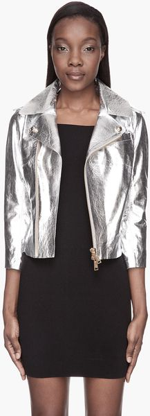 DSquared2 Metallic Silver Venusia Leather Jacket - Lyst