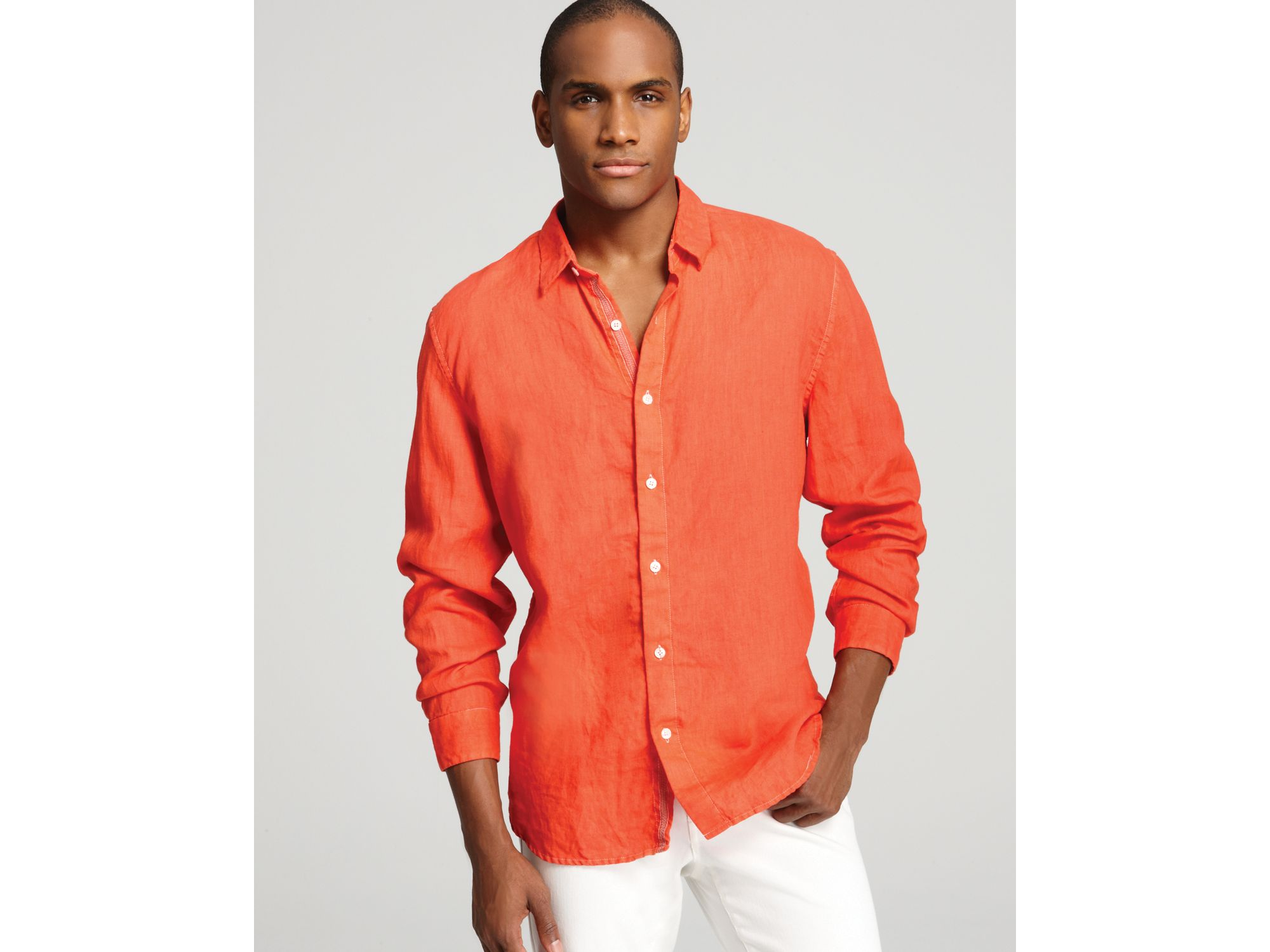 b2f2a5e1c2 Lyst - Elie Tahari Steve Linen Sport Shirt Classic Fit in Orange for Men