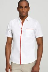 Elie Tahari Preston Short Sleeve Sport Shirt in Classic Fit - Lyst