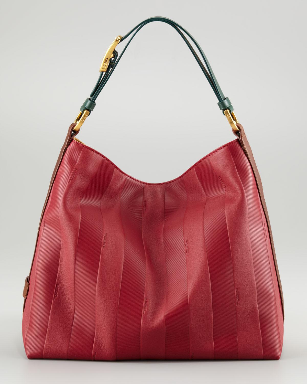 Lyst - Fendi Pequin Tonalstripe Hobo Bag in Red eaaf3ff4e5