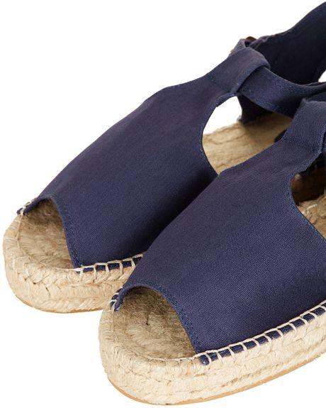 Topshop Haha Peep Espadrille Sandals In Blue Navy Blue