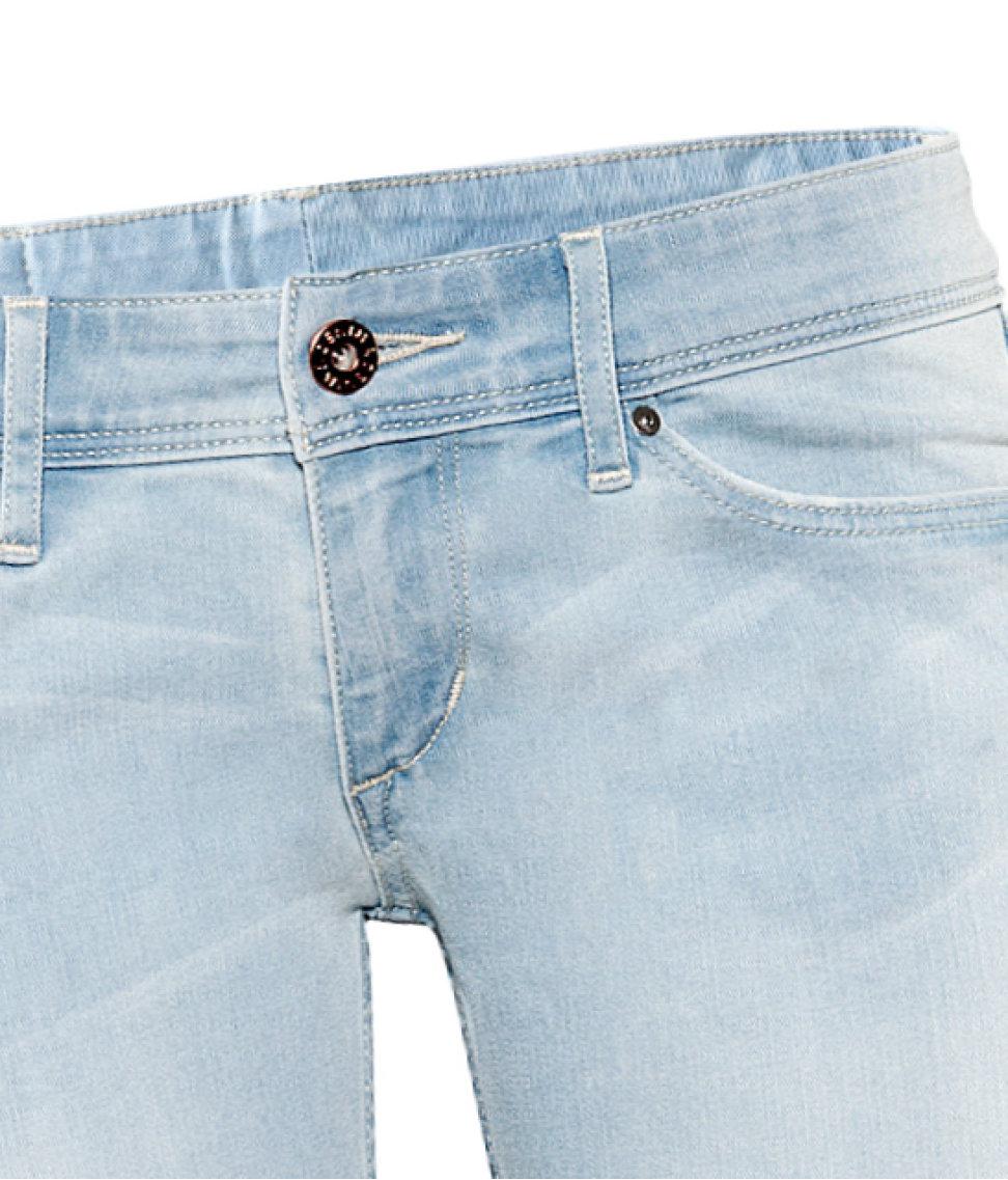 h m super skinny super low jeans in blue lyst. Black Bedroom Furniture Sets. Home Design Ideas