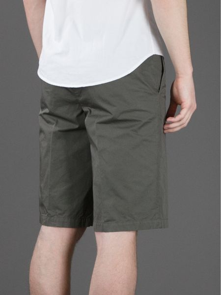 Lanvin Knee Length Bermuda Shorts In Khaki For Men Lyst