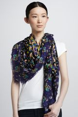 Peter Pilotto Mixedprint Geometric Scarf Blue - Lyst