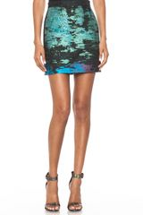 Proenza Schouler Tweed Suiting Mini Skirt in Teal Black - Lyst