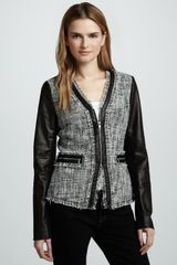 Rebecca Taylor Leather-Sleeve Tweed Jacket - Lyst