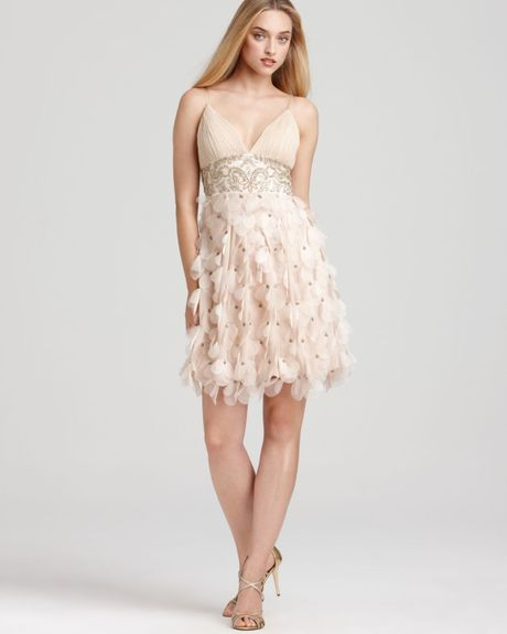 Sue Wong Short Petal Beaded Dress In Brown (champagne)