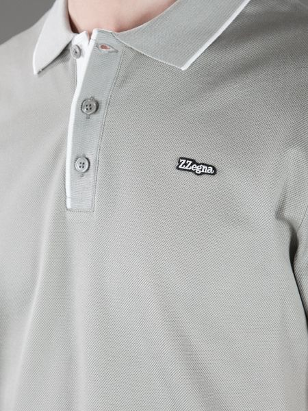 Z zegna logo polo shirt in gray for men grey lyst for Zegna polo shirts sale