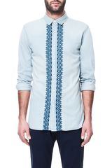 Zara Embroidered Denim Shirt - Lyst