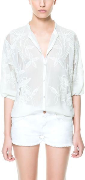 Zara embroidered shirt with elbow length sleeves in white