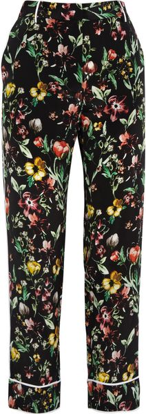 3.1 Phillip Lim Botanical Print Tapered Silk Pants - Lyst