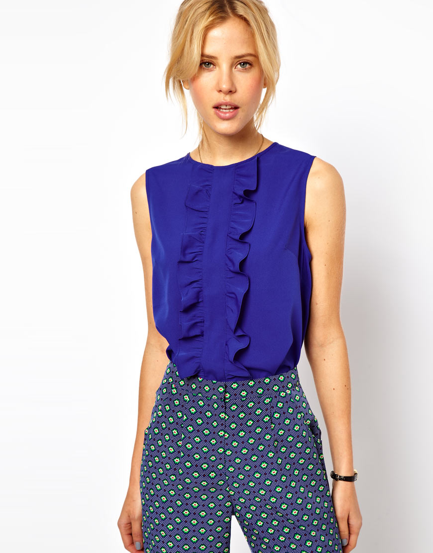 Asos collection Sleeveless Blouse with Ruffle Front in Blue | Lyst
