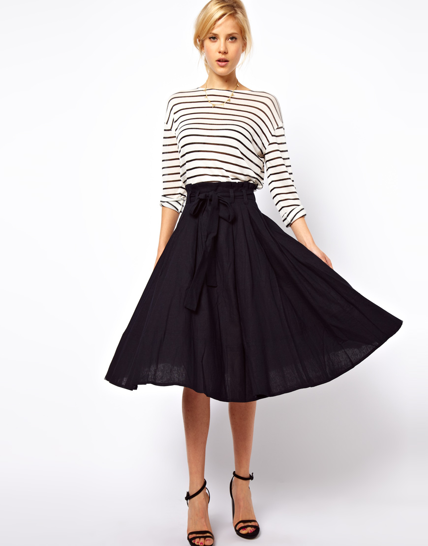 Asos collection Linen Midi Skirt with Belt in Blue   Lyst