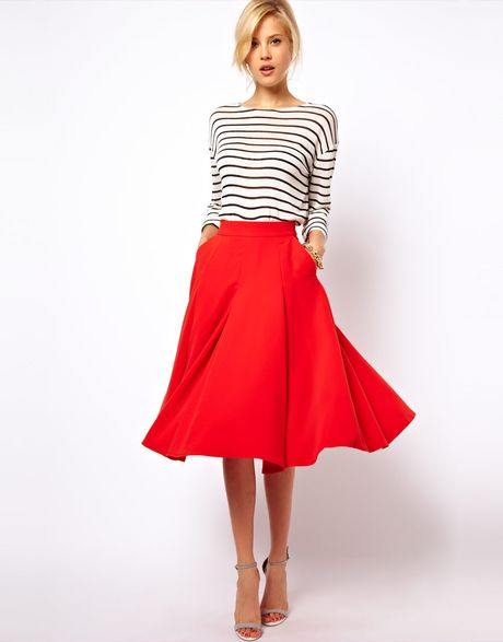 asos collection midi circle skirt with pockets in