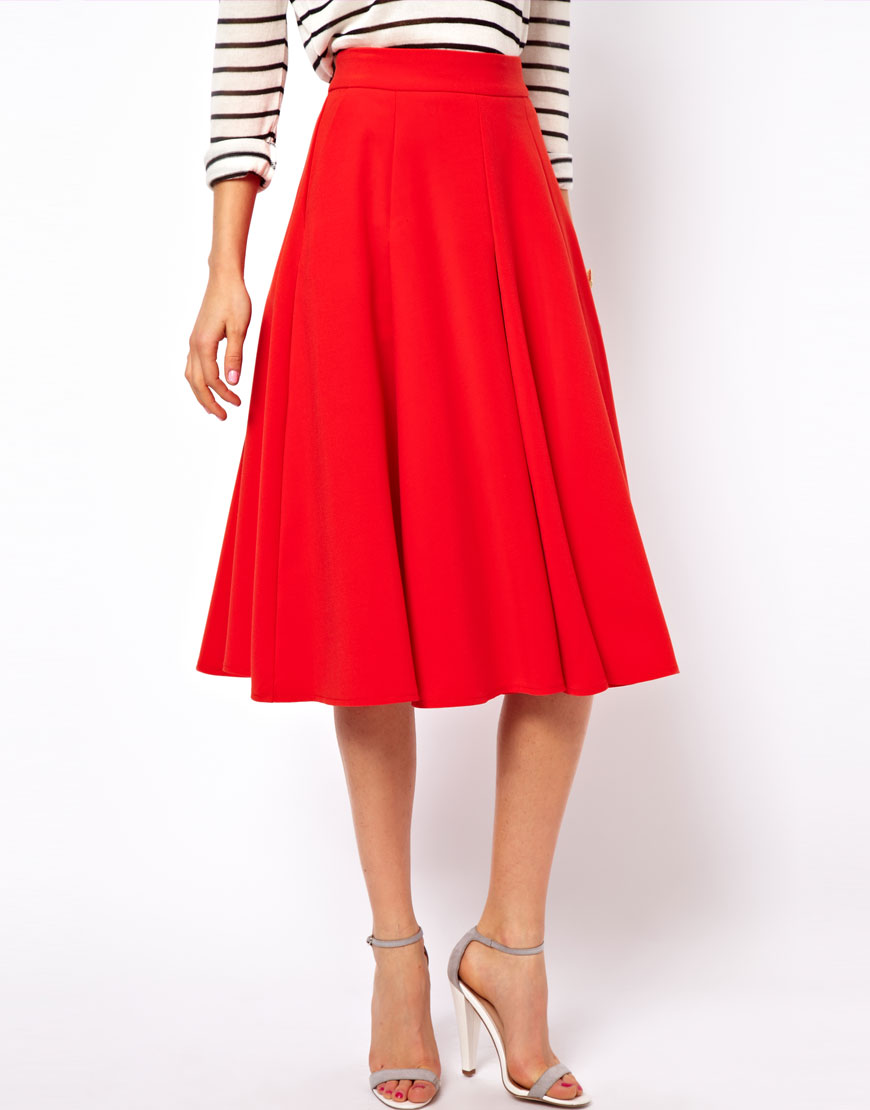 Asos collection Full Midi Circle Skirt with Pockets in Red | Lyst