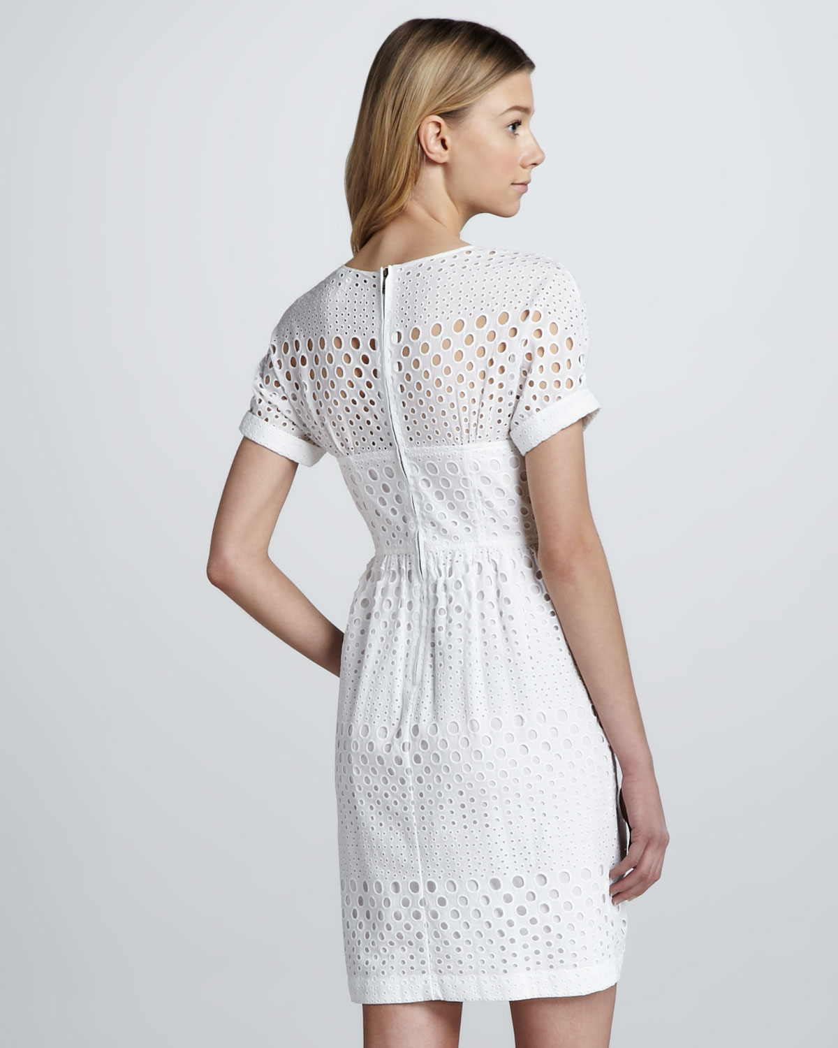 ba1e47943d1 Lyst - Burberry Brit Bustier Detail Eyelet Dress in White