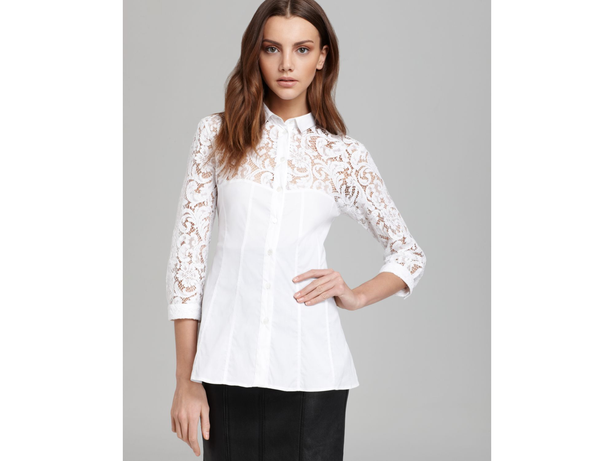 Lyst Burberry London Blouse White Lace In White