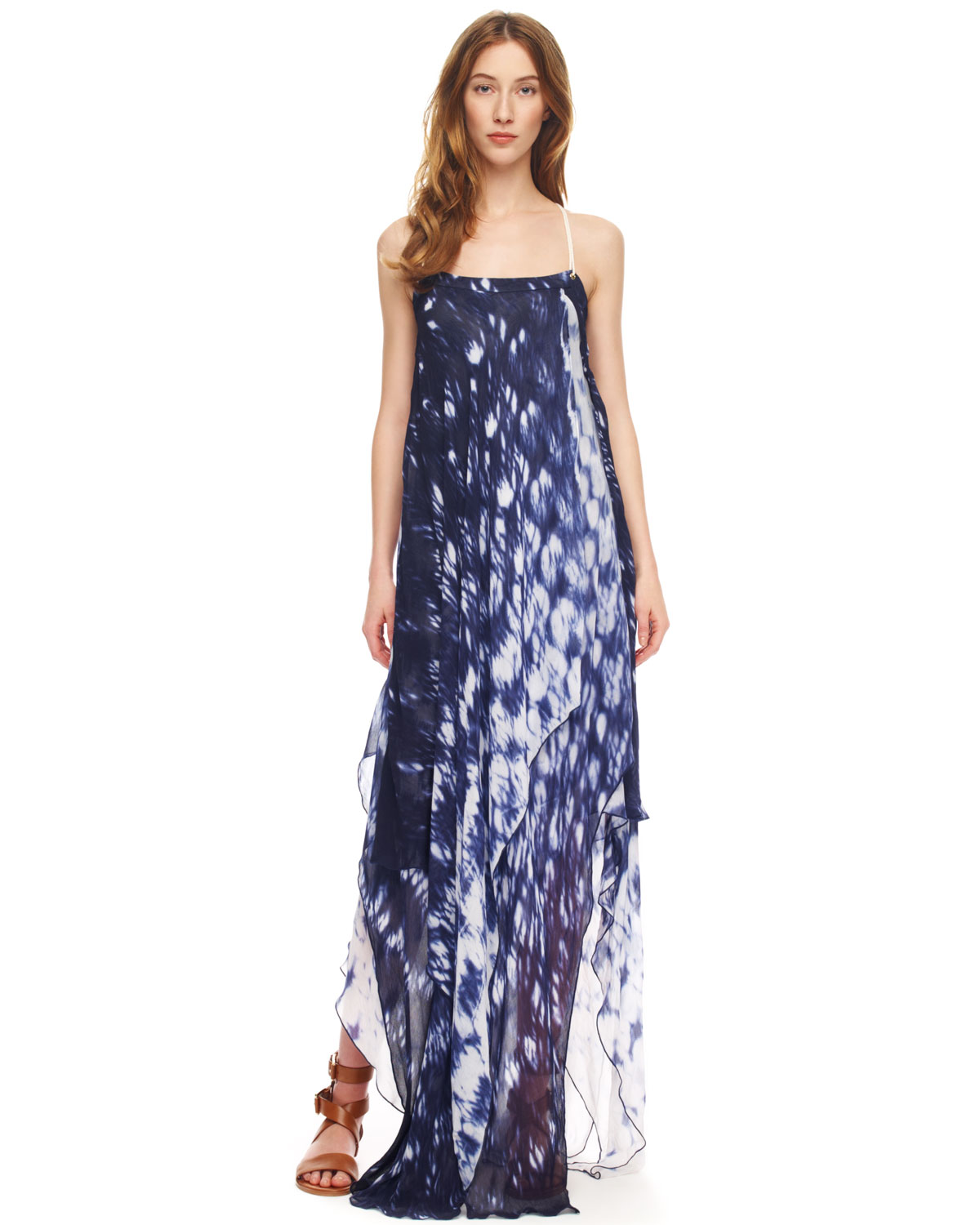 Lyst - MICHAEL Michael Kors Printed Layered Maxi Dress in Blue