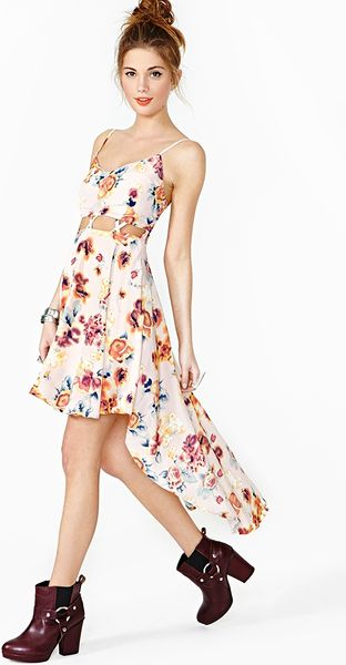 Nasty Gal Rosy Lattice Dress - Lyst