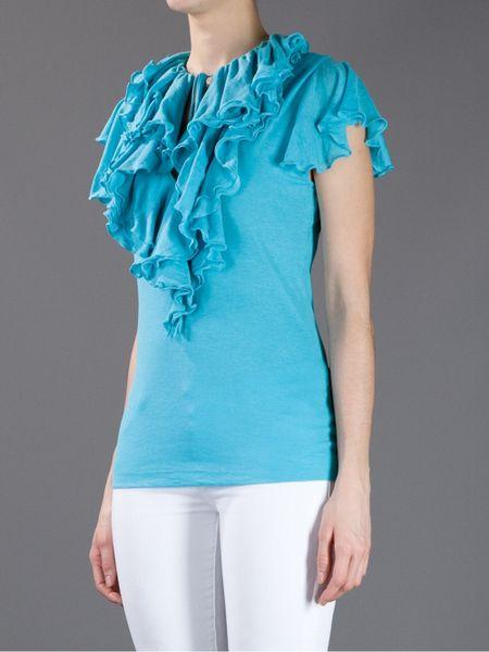 Turquoise Ruffle Blouse Blue Label Ruffle Blouse