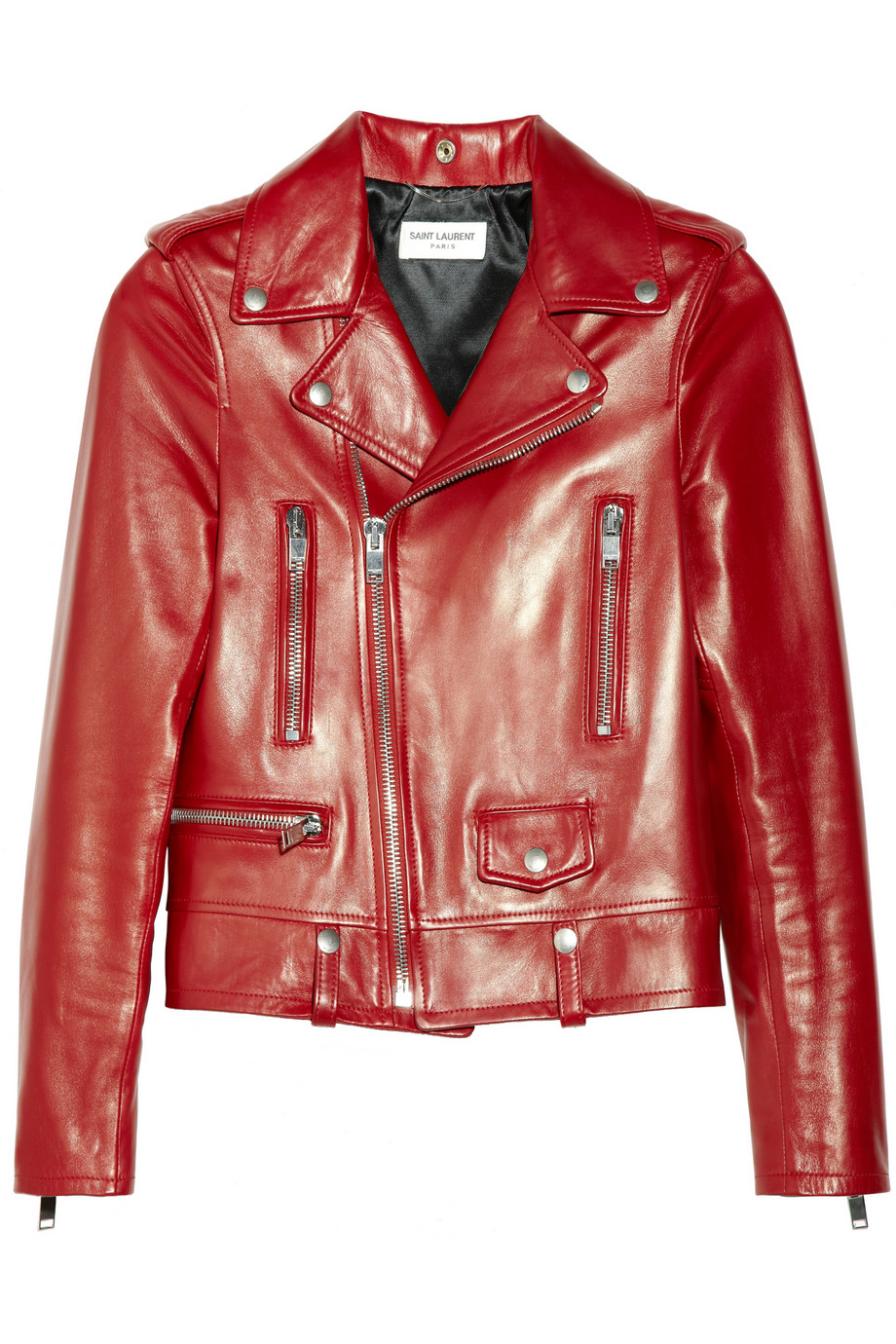 Saint laurent leather biker jacket in red lyst for Red leather shirt for womens