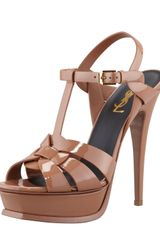 Saint Laurent New Tribute Patent Platform Sandal Natural - Lyst