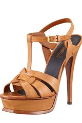 Saint Laurent New Tribute Platform Sandal Natural - Lyst