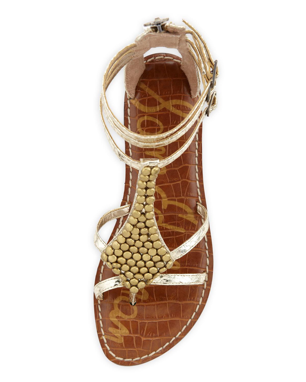 52104ee39877f Lyst - Sam Edelman Ginger Gladiator Sandal in Metallic