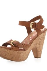 Sam Edelman Warner Perforated Suede Cork Platform Sandal - Lyst