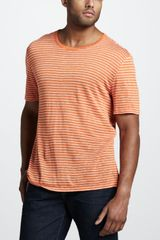 Vince Striped Linen Tee - Lyst