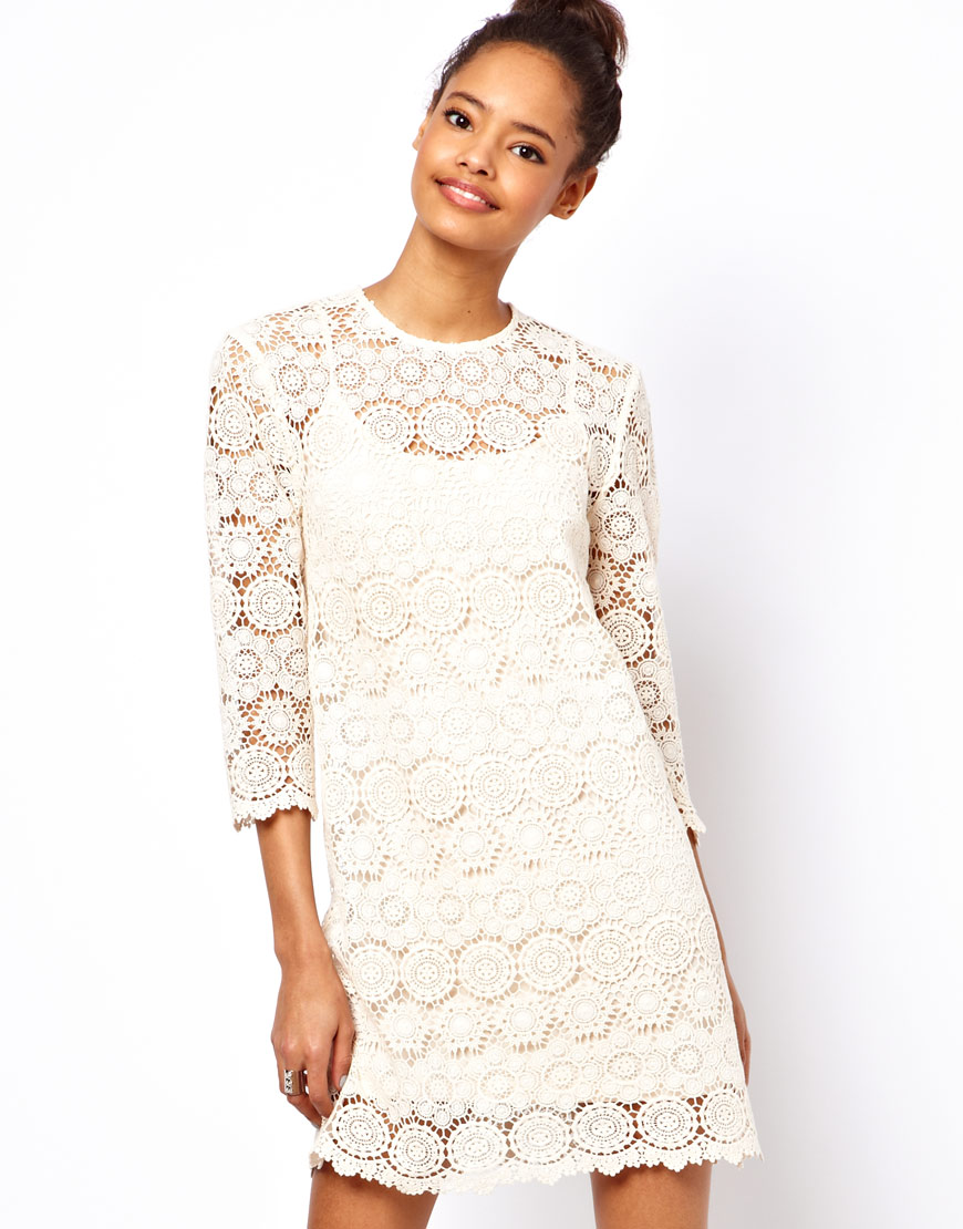 Lyst Asos Asos Shift Dress In Crochet Lace In Natural