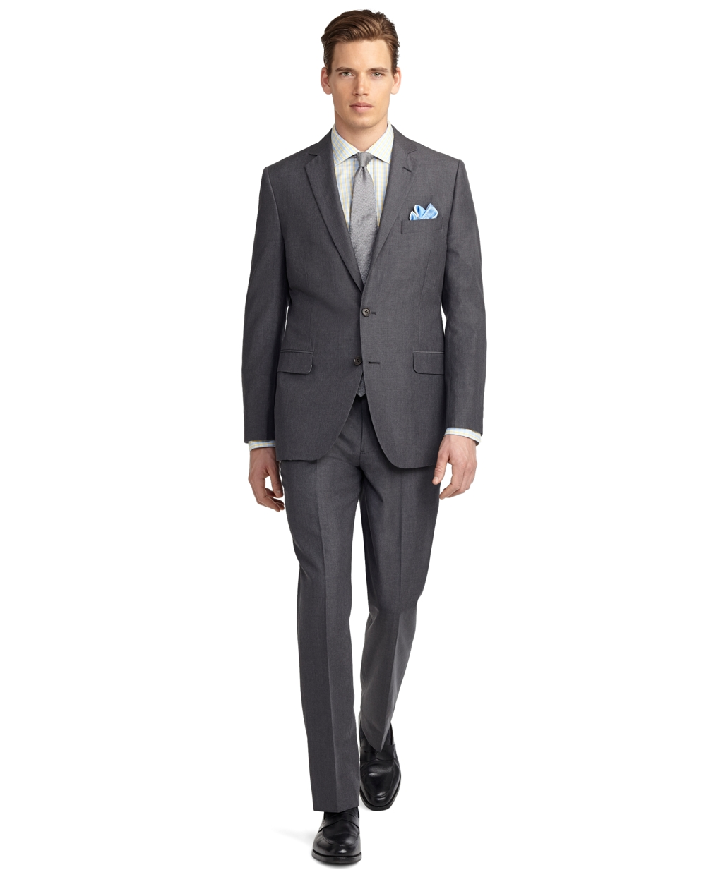 Brooks brothers fitzgerald fit melange suit in gray for for Brooks brothers dress shirt fit guide