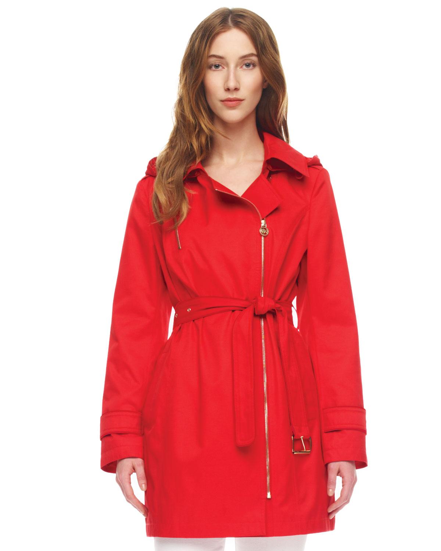 Michael kors Asymmetric-Zip Trenchcoat in Red   Lyst