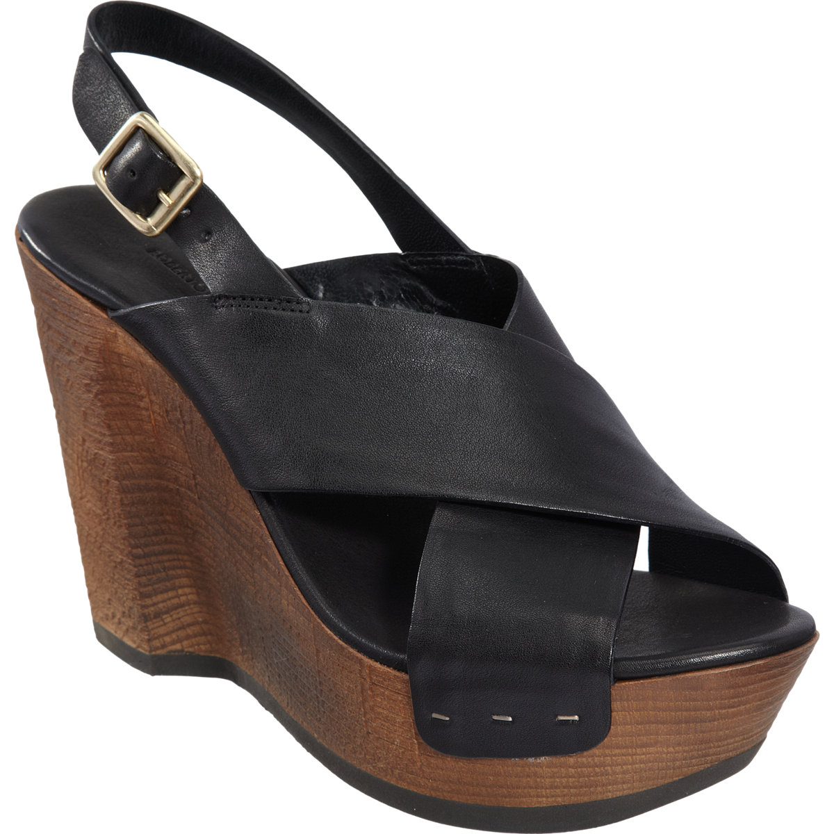 Roberto Del Carlo Stacked Wooden Wedge Slingback Sandal In