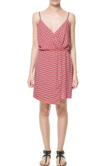 Zara Printed Dress with Asymmetric Skirt - Lyst