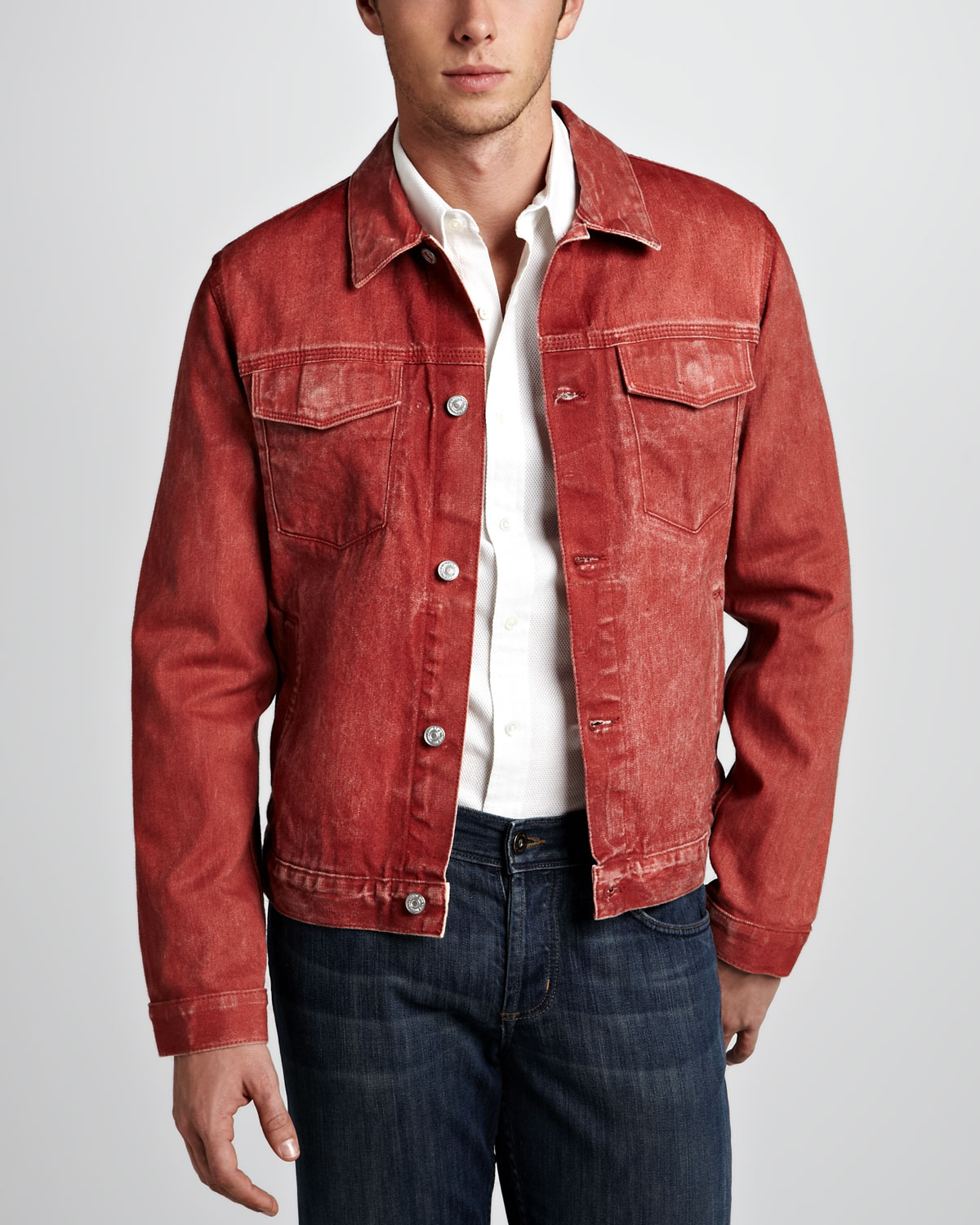 7 for all mankind Selvedge Denim Jacket in Red for Men | Lyst