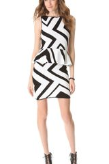 Alice + Olivia Geo Crochet Peplum Dress - Lyst