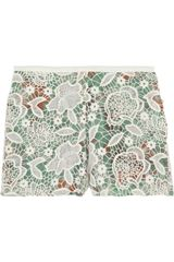 Anna Sui Lace covered Printed Silk Shorts - Lyst