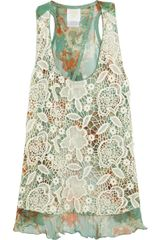 Anna Sui Lacecovered Printed Silk Tank