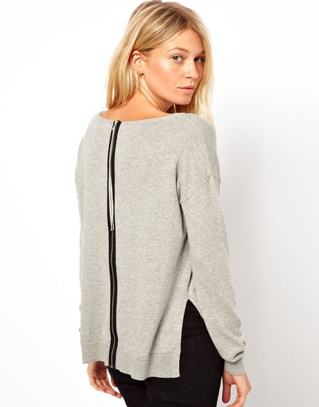 Asos Sweater With Zip Back Detail In Red Tomatored Lyst