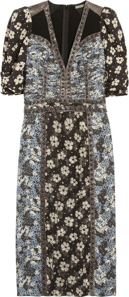 Bottega Veneta Snake trimmed Printed Silk Dress - Lyst