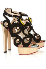 Charlotte Olympia Anastasia Suede and Wooden Sandals in Gold (Black) - Lyst